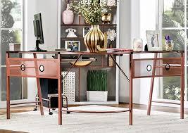 Corner Computer Desk Furniture Furniture Ville Bronx Ny Drew Rose Gold Corner Computer Desk