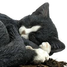 sleeping black and white cat resin garden ornament 17 09
