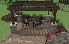 Large Brick Patio Design With 12 X 16 Cedar Pergola Outdoor by Large Paver Patio Design With Pergola And Grill Station Bar