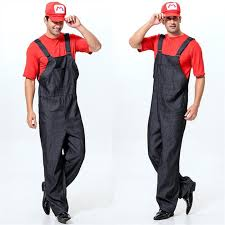 Masquerade Halloween Costume 2016 Super Mario Brothers Delivery Courier Overalls Masquerade