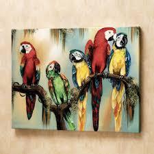 tropical macaw parrots canvas art