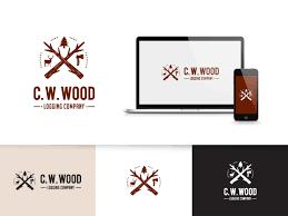 masculine bold logo design for c w wood logging company by goh