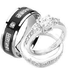 engagement and wedding ring set wedding rings set his and hers titanium stainless