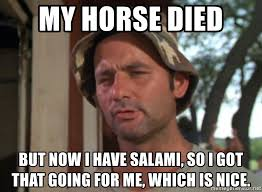 Salami Meme - my horse died but now i have salami so i got that going for me