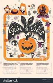 lovely holiday happy halloween flyer template stock vector
