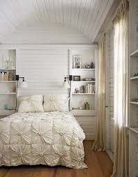 Bookshelves On The Wall Romantic Bedroom With Wooden Floor And Neat Bookshelves On The