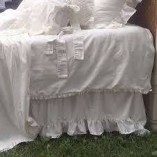 White Ruffle Bed Skirt Adjustable Handmade Ruffled Bed Skirt Farmhouse Living