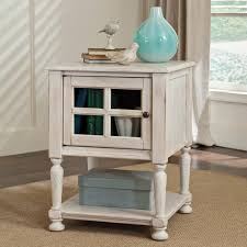 White End Tables For Bedroom Stein World Delphi Square White Wood And Glass End Table Hayneedle