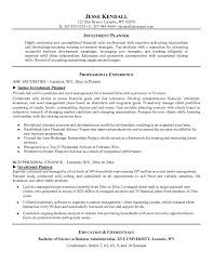 Sample Resume Hospitality by Free Investment Planner Resume Example