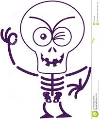 scary halloween sign scary halloween skeleton winking and making an ok sign stock