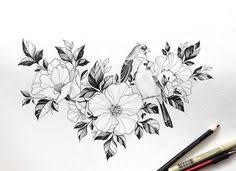 эскиз тату с цветами в графике tattoo drawings pinterest