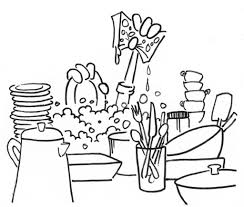 washing dishes kitchenware coloring page home u0026 housework free