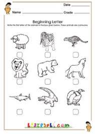 learn first letter of the animals worksheet kindergarten teachers