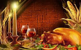 thanksgiving dinner turkey candles wine food hd