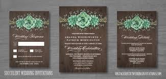 succulent wedding invitations succulent wedding invitations vintage rustic wedding invitations