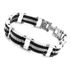 mens bracelet stainless steel rubber images Cheap mens silicone bracelet find mens silicone bracelet deals on jpg
