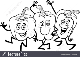 cartoon peppers vegetables for coloring book illustration