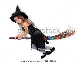 Girls Witch Halloween Costume Beautiful Cute Witch Halloween Stock Photo 216109525