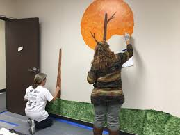just because quilts wall murals for social services a whole team of volunteers showed up to paint the walls i m not the only soft touch with a soft spot for kids