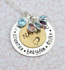 mothers day birthstone necklace nana pendant with birthstones family necklace personalized