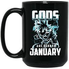 dragon ball z mug gods are born in january super saiyan coffee mug