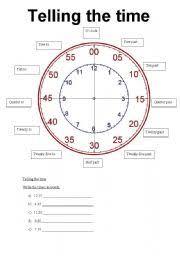 worksheet telling time