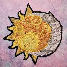 celestial sun crescent moon iron on from mtthreadz on etsy