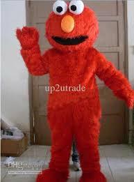 seasame street red elmo mascot costumes long fur red monster