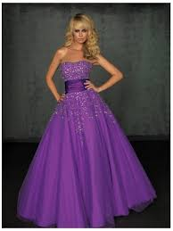 sale princess purple strapless long beads decorated tulle