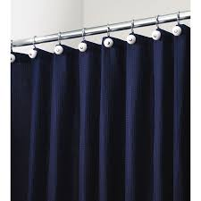 Shower Curtain Long 84 Inches Shop Interdesign York Polyester Navy With A Waffle Weave Texture