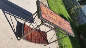 Custom Metal And Wood Furniture Industrial Entry Table Made From Reclaimed Wood And Metal