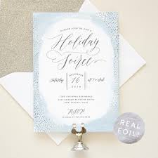 christmas party invitation with silver foil cocktail party