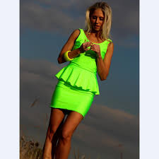 backless miniskirt fluorescent color pleated flounces ladies