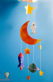 3d space mobile hanging baby boys room decor rocket space