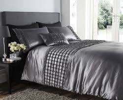 beautiful silver colour stylish ruffles faux silk duvet cover luxury bedding