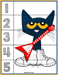 pete the cat 1 5 counting puzzle prekautism com