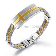 cross cuff bangle bracelet images Brand new stainless steel twisted cable wire cross cuff bangle jpg