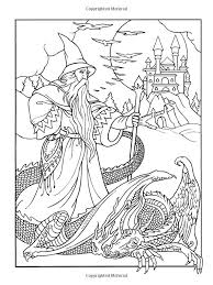 77 coloring fantasy dragons u0026 wizards images