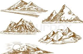 beautiful mountain landscapes engraving sketch icons with scenic