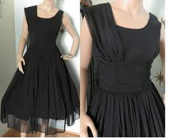 vintage 1950s mr ray black chiffon cocktail party dress small 326