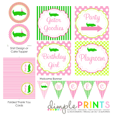 alligator printable party package dimple prints shop