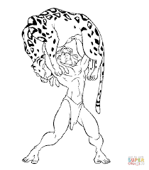 Tarzan Lifted Leopard Sabor Coloring Free Printable