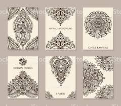 mehndi cards set of six cards or flyers with abstract henna mehndi stock vector