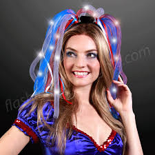 white and blue headband led headwear light up hair noodle headbands in white blue