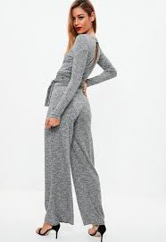 belted jumpsuit grey ribbed belted jumpsuit missguided