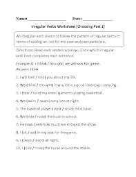 englishlinx com verbs worksheets choosing irregular verbs