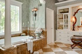 interior retro bathroom design with chess board marble floor