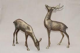 large solid brass deer figurines buck doe spotted deer pair