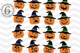 halloween clipart creation kit pumpkin pumpkin hat svg spooky pumpkin faces design bundles