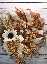sunflower mesh wreath fall wreath fall wreath for front door large fall wreath fall